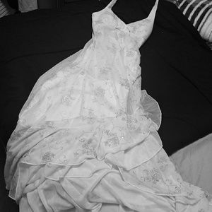 Beautiful White Gown w/ silver sparkling gems